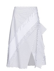 Cedric Charlier Layered Pinstriped Cotton Skirt White Black