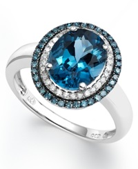 Macy's London Blue Topaz 2 3 4 Ct. T.W. Blue And White Diamond 1 3 Ct. T.W. Oval Ring In 14K White Gold