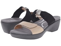 Naot Footwear Pinotage Satin Gold Leather Black Stretch Women's Sandals Beige