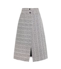 Carven Cotton Blend Skirt Blue