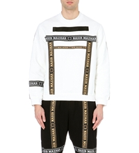Nasir Mazhar Taped Logo Cotton Jersey Sweatshirt White