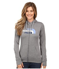 The North Face Fave Half Dome Full Zip Hoodie Tnf Medium Grey Heather Coastal Fjord Blue Multi Women's Sweatshirt Gray