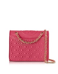 Tory Burch Fleming Quilted Leather Medium Bag Peony