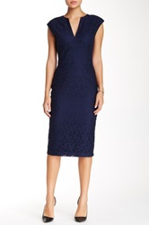 Single Dress Lace Fitted Dress Blue