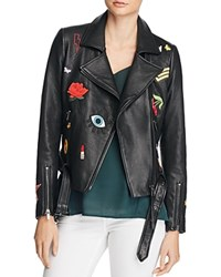 Aqua Patch Moto Leather Jacket Black