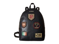 Love Moschino Patched Backpack Black Backpack Bags