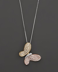 Bloomingdale's Diamond Pave Butterfly Pendant In 14 Kt. White Yellow And Rose Gold 0.40 Ct. T.W. No Color