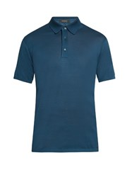 Ermenegildo Zegna Short Sleeved Cotton Pique Polo Shirt Navy