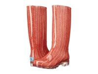 Toms Cabrilla Rain Boot Picante Red Herringbone Print Women's Rain Boots Orange