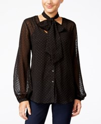 Jessica Simpson Cerena Printed Peasant Blouse With Scarf Black