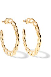 Kenneth Jay Lane Gold Tone Hoop Earrings