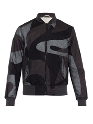 Alexander Mcqueen Abstract Print Silk Bomber Jacket