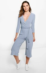 Boohoo Ribbed Self Belt Wrap Front Culotte Jumpsuit Silver