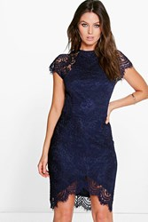 Boohoo Leah Eyelash Lace Curved Hem Bodycon Dress Navy