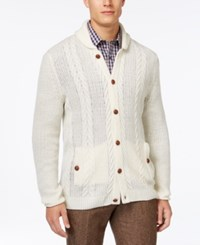 Tasso Elba Shawl Collar Cable Knit Cardigan Only At Macy's Antique Wh