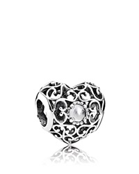 Pandora Design Pandora Charm Sterling Silver And Crystal April Signature Heart