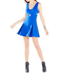 Bcbgmaxazria Harlie Cutout Pleated Fit And Flare Dress Royal Blue