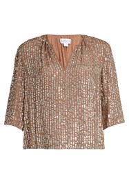 Velvet By Graham And Spencer Wenn Embellished V Neck Top Gold