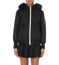 Izzue Hooded Faux Fur Trim Shell Jacket Blue
