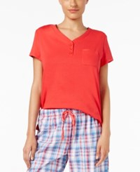 Karen Neuburger Short Sleeve Pajama Top Solid Red