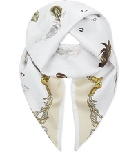 Aspinal Of London Signature Print Silk Scarf Cream
