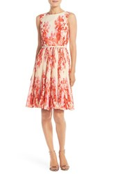 Women's Adrianna Papell Floral Print Pleat Fit And Flare Dress