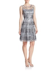 Kay Unger Metallic Fit And Flare Dress Silver Multi