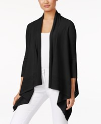 Cable And Gauge Open Front Cardigan Black