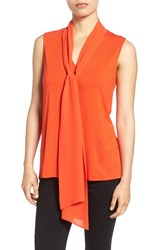 Vince Camuto Women's Tie V Neck Sleeveless Top Vivid Flame