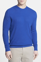 Robert Talbott Silk Basket Stitch Crewneck Sweater Regatta Blue