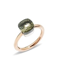 Pomellato Nudo Mini Ring With Faceted Prasiolite In 18K Rose And White Gold Green Rose