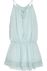 Elizabeth And James Kenji Crinkled Silk Georgette Mini Dress Light Blue
