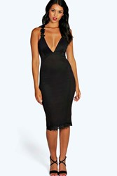 Boohoo Crochet Trim Detail Plunge Midi Bodycon Dress Black
