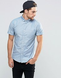 Asos Skinny Oxford Shirt In Blue With Short Sleeves Blue Steel