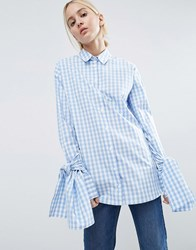 Asos Gingham Check Cotton Shirt With Extreme Tie Sleeves Blue Check