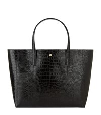 Reiss Louie Crocodile Embossed Tote Bag Female Black