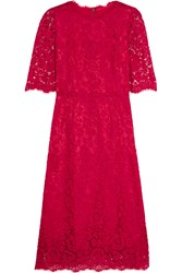 Dolce And Gabbana Guipure Lace Dress Red