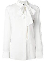 Boutique Moschino Pussy Bow Zipped Shirt White