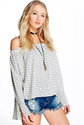 Megan Feather Print Off The Shoulder Woven Top