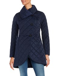 T Tahari Charlotte Quilted Coat Deep Navy Blue