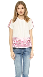 Sea Embroidered Peasant Top White Pink