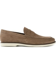 Hogan Rubber Sole Penny Loafers Brown