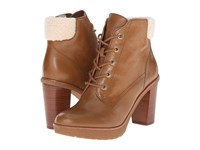 Michael Michael Kors Kim Lace Up Bootie Dark Caramel Distressed Vachetta Faux Shearling Women's Lace Up Boots Brown
