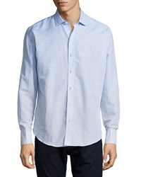 Zachary Prell Horizontal Stripe Woven Long Sleeve Shirt Light Blue
