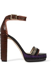 Jimmy Choo Holly Suede Trimmed Croc Effect Leather Platform Sandals