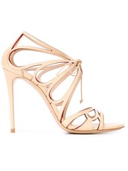 Casadei Cut Out Tie Sandals Nude And Neutrals