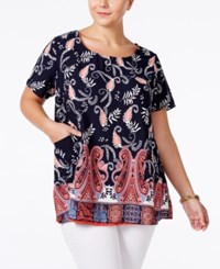 Ing Plus Size Floral Print Pocketed Tunic Top Navy Combo