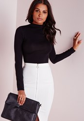 Missguided Long Sleeve Turtle Neck Top Black