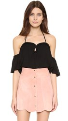 Re Named Crinkle Curve Top Black