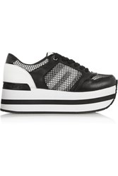 Dkny Jill Leather And Mesh Platform Sneakers Black